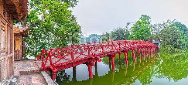 istock Huc Bridge spanning the Ngoc Son Temple, Hanoi, Vietnam 496976050