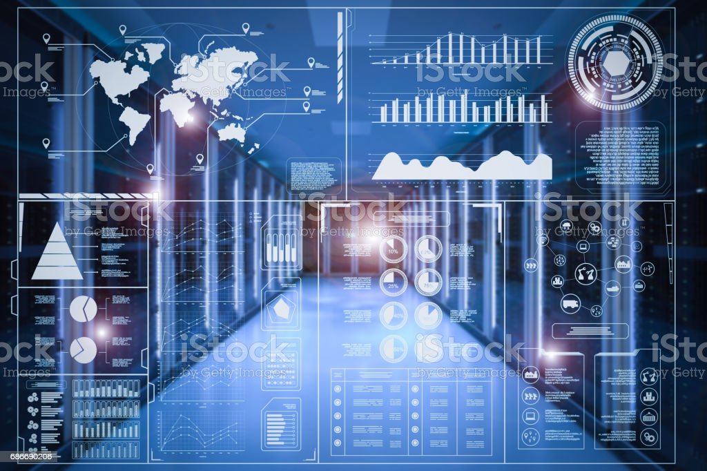 hud display with server room background stock photo
