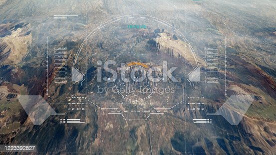 Hud Futuristic Aerial Surveillance Flyover Mystery Mountain For Enemy Target Checking 3D Rendering Illustration.