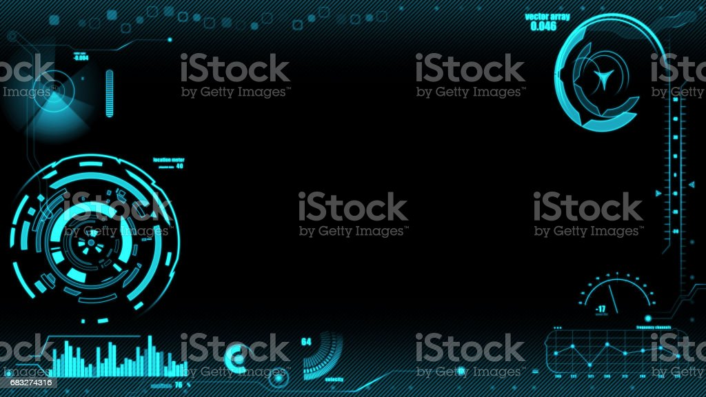 Hud interface on black backgrounds stock photo