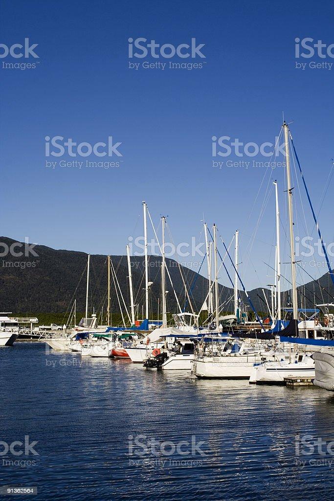 huddle of yachts at mooring stock photo