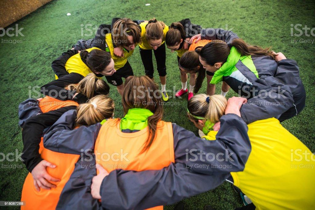 Huddling in sports stock photo