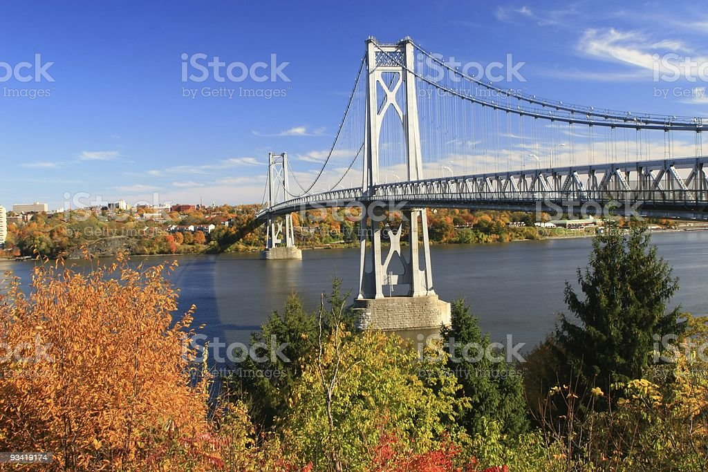 Hudson bridge during the autumn for drivers and cars royalty-free stock photo