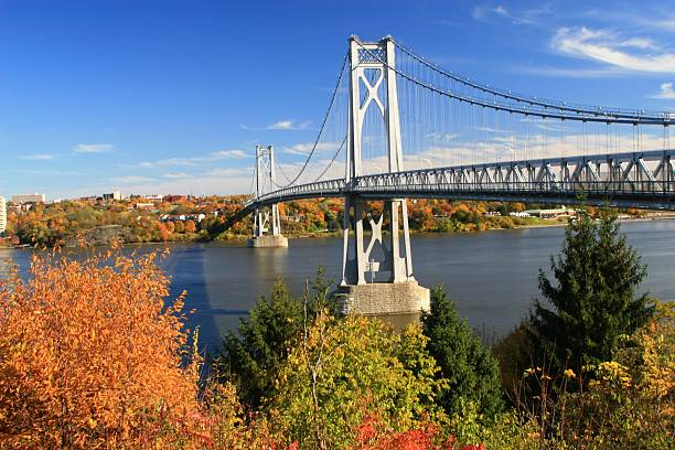 Hudson bridge during the autumn for drivers and cars Mid Hudson Bridge on a fine fall day looking across the Hudson River from Highland to Poughkeepsie, New York hudson river stock pictures, royalty-free photos & images