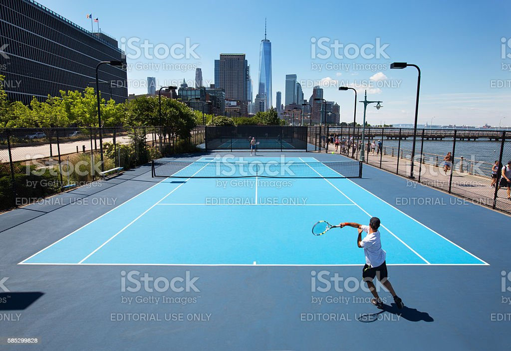 Hudson River Park Tennis Courts Stock Photo More Pictures Of