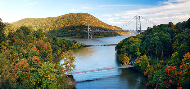 Hudson River valley panorama Hudson River valley panorama in Autumn with colorful mountain and Bridge over Hudson River. hudson river stock pictures, royalty-free photos & images
