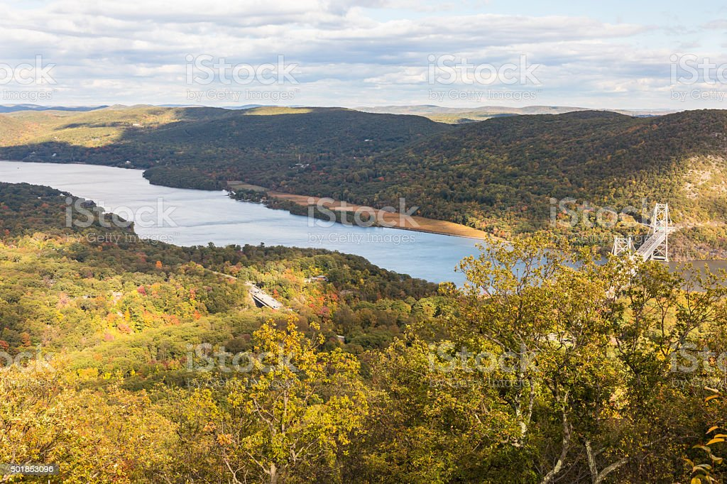 Hudson River View from Bear Mountain Peak stock photo