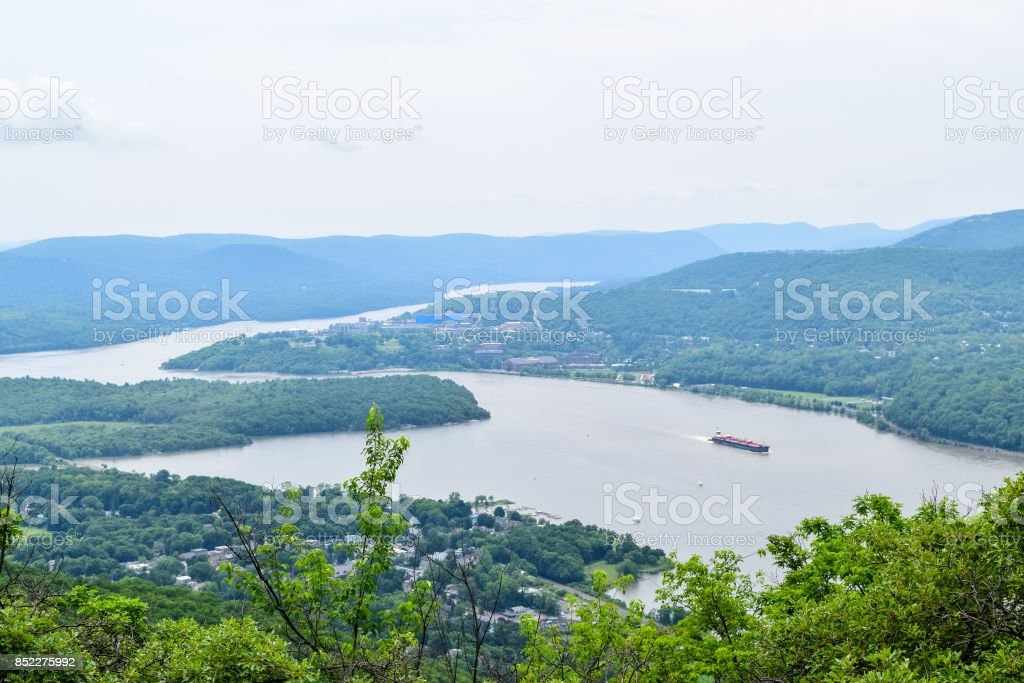 Hudson River with mountains from peak of bull hill stock photo