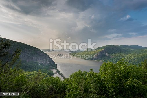 North View through the Hudson Highlands up the Hudson River with Newburgh Bay in the Distance, and Storm King Mountain on the left, and Breakneck Ridge on the right