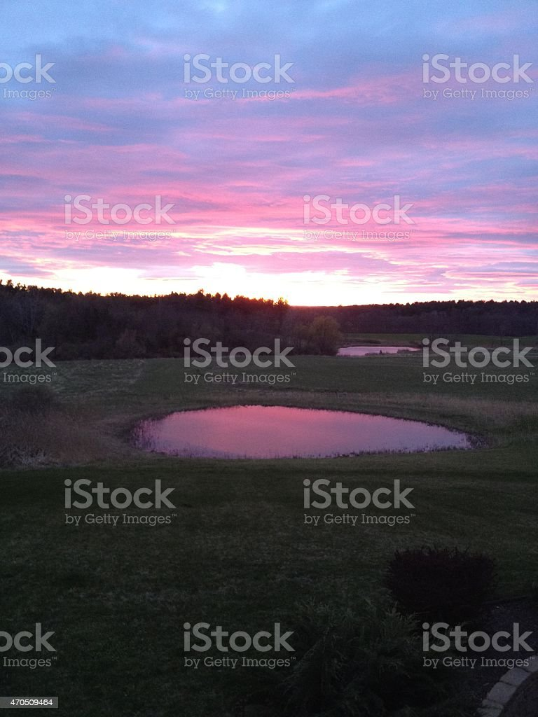 Hudson Valley Farm Pond at Sunset stock photo