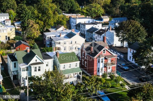 A residential neighborhood in the Hudson River Valley of New York State.