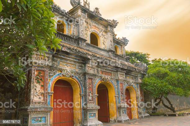 Hue Citadel Entrance Sunset Stock Photo - Download Image Now