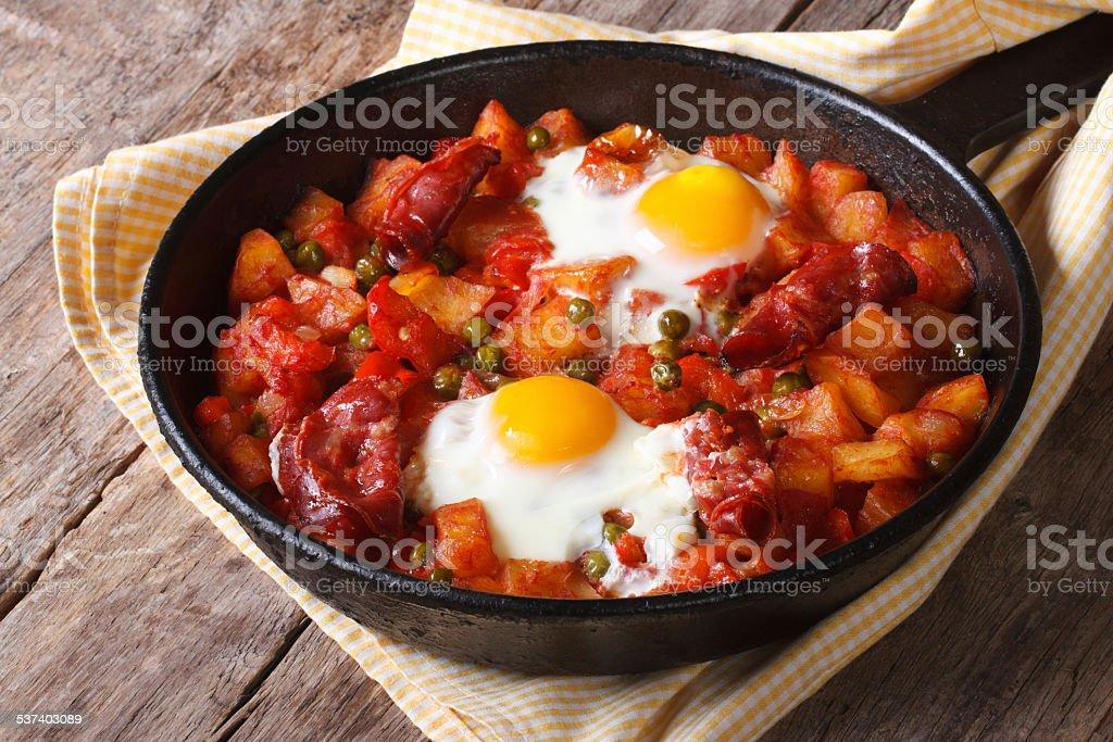 Huevos a la flamenca, closeup. Horizontal stock photo