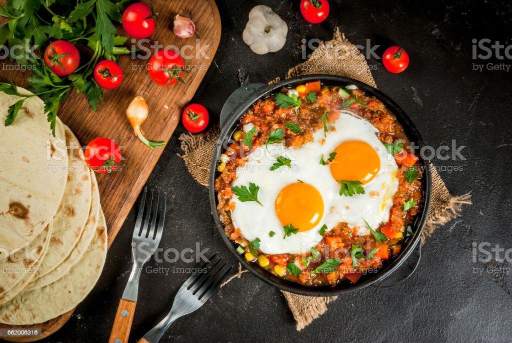 Huevos rancheros, Mexican food stock photo