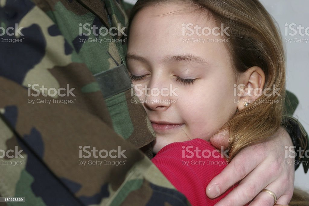 Hug a Soldier royalty-free stock photo