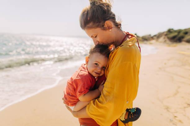 Hug for my baby boy stock photo