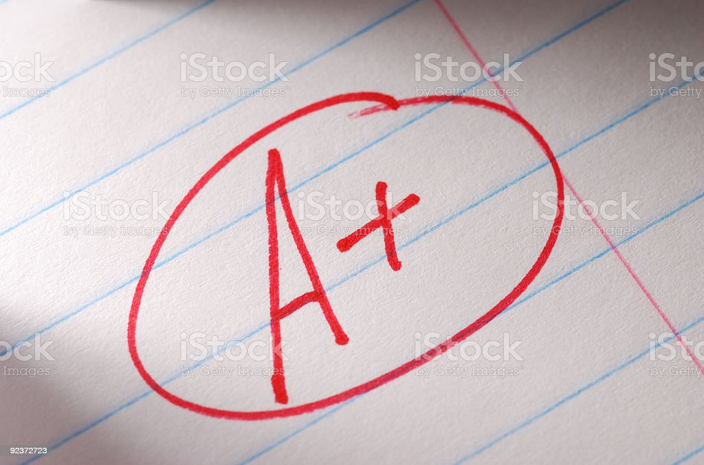 A huge A+ with a red circle on a paper royalty-free stock photo