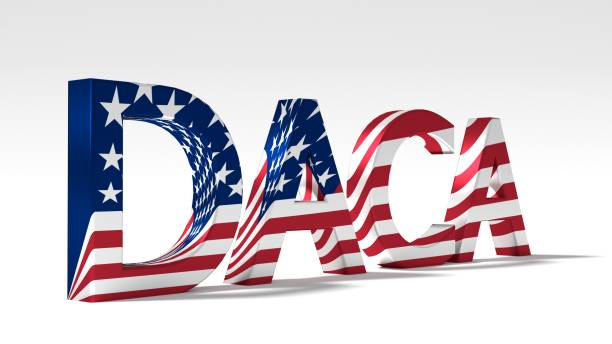 Huge abbreviation daca textured with the flag of the united states stock photo