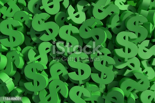 Huge amount of green dollar symbol, 3d render illustration