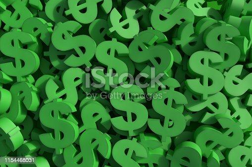 istock Huge amount of green dollar symbol 1154468031
