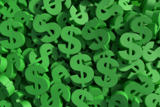 Huge amount of green dollar symbol Huge amount of green dollar symbol, 3d render illustration us paper currency stock pictures, royalty-free photos & images