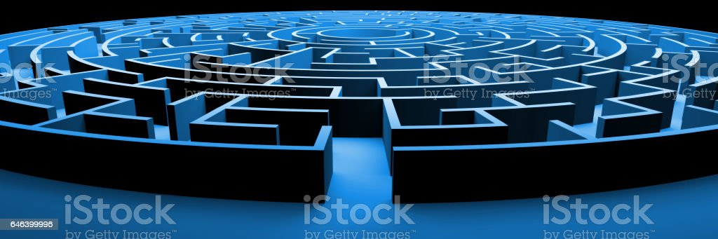 huge and mysterious circular maze structure stock photo