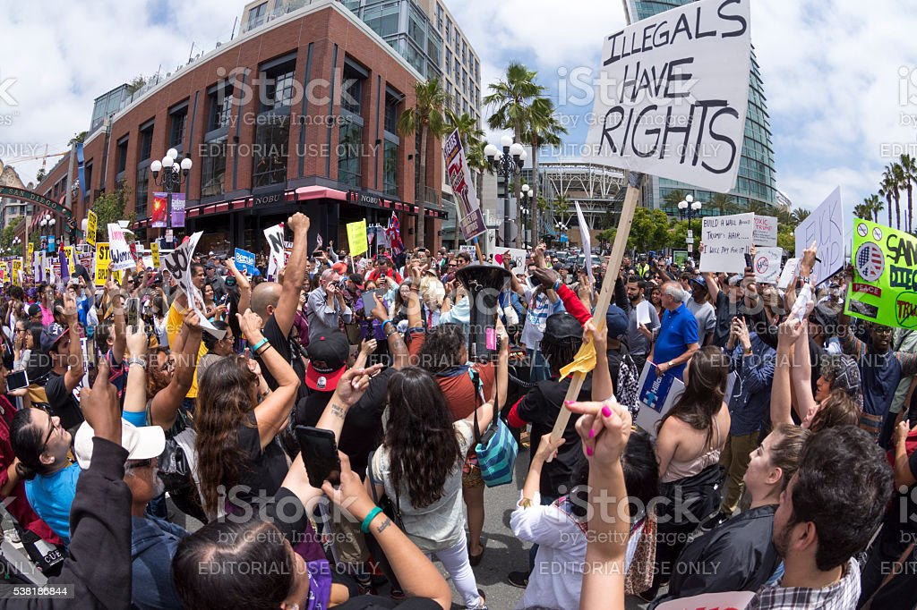 Huge anti-Trump rally in San Diego stock photo