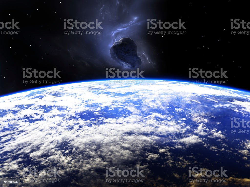 Huge asteroid flying around the Earth stock photo