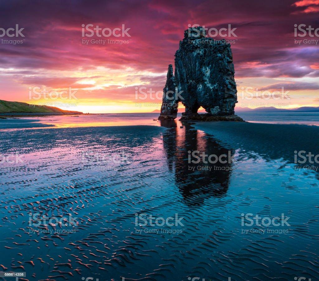 Huge basalt stack Hvtserkur on the eastern shore of the Vatnsnes peninsula royalty-free stock photo