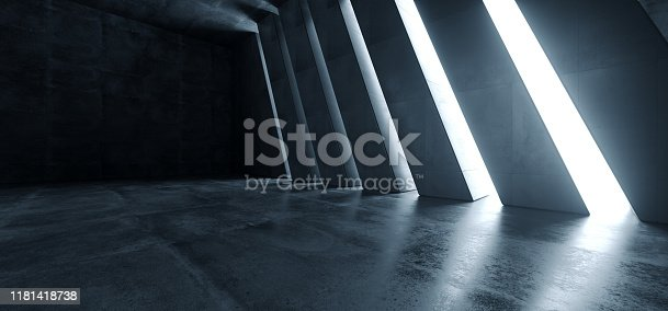 Huge Big Dark Hall Garage Tunnel Corridor Car Empty Studio Background White Windows Light Glow Cement Asphalt Concrete Grunge Dark Tall 3D Rendering Illustration