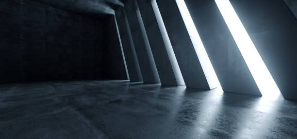 big dark hall garage tunnel corridor car empty studio contexte fond de terre-feu blanc windows light glow cement asphalt concrete grunge dark tall 3d rendering - architecture photos et images de collection