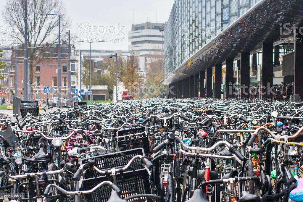 Huge bike parking in Netherlands. stock photo
