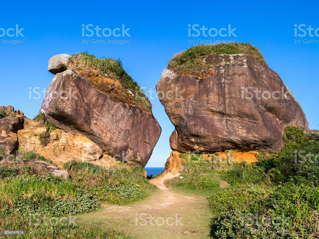 Huge boulders close to the beach stock photo