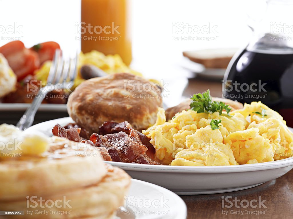 huge breakfast stock photo
