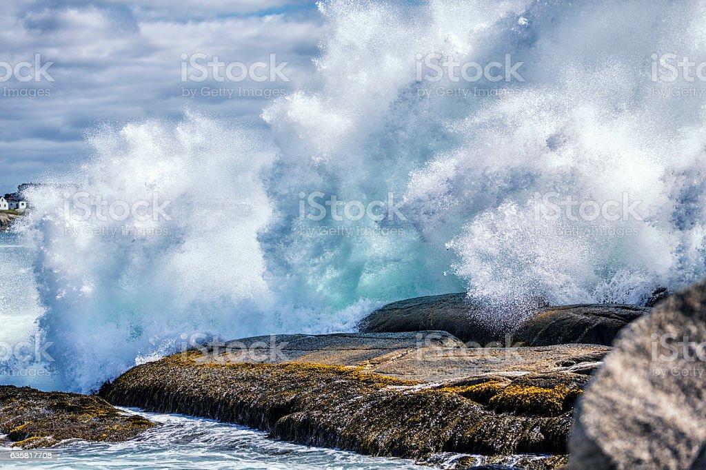 Huge Breaking Surf Waves Crashing Nova Scotia Canada Coastline Rocks stock photo