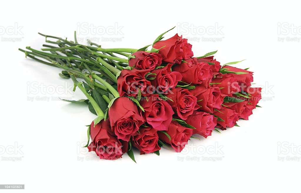 Huge bunch of red roses isolated on white. royalty-free stock photo