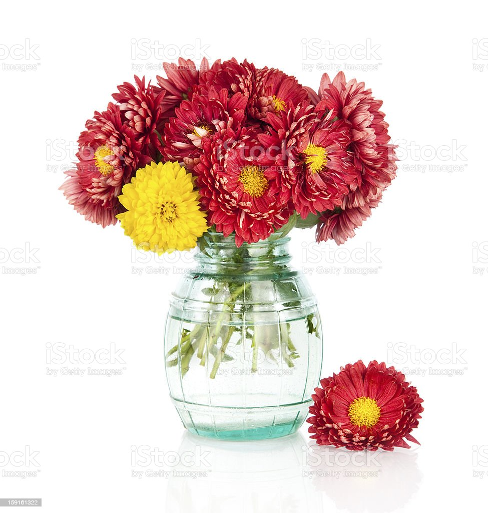 Huge bunch of yellow and red autumn flowers in vase royalty-free stock photo