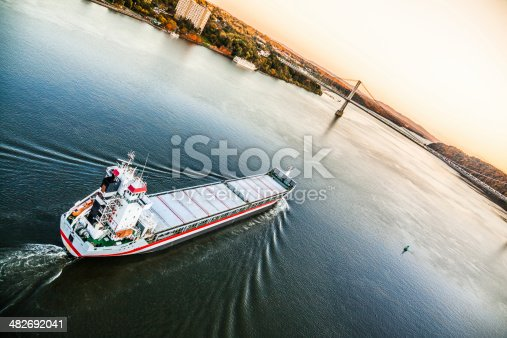483418977istockphoto Huge cargo ship at the Hudson River 482692041