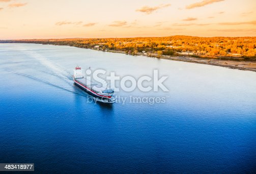 istock Huge cargo ship at the Hudson River 483418977