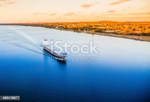 483418977istockphoto Huge cargo ship at the Hudson River 483418977