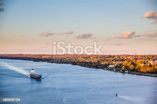 483418977istockphoto Huge cargo ship at the Hudson River 495608759