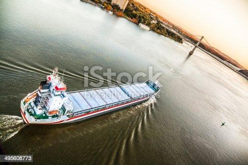 483418977istockphoto Huge cargo ship at the Hudson River 495608773