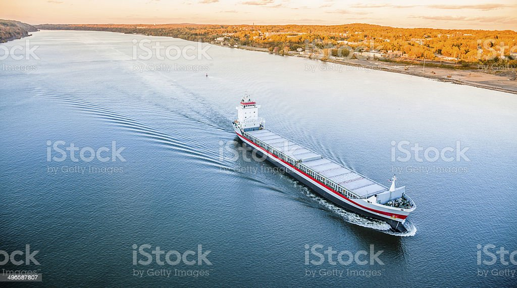 Huge cargo ship at the Hudson River stock photo