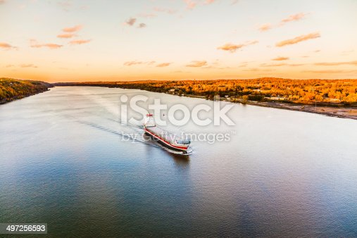 istock Huge cargo ship at the Hudson River 497256593