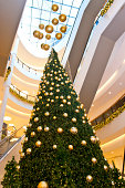 """Christmas tree and decoration in a shopping mall, Christmas tree is about 59 feet tall."""