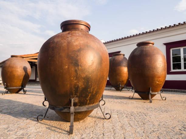 huge clay wine containers in alentejo region, portugal - setubal imagens e fotografias de stock