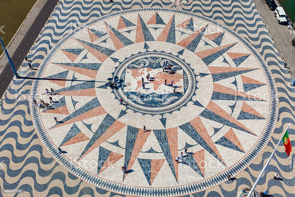 huge compass rose mosaic showing the Discoveries Routes stock photo