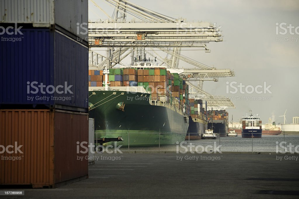Huge container ships, lined up at the port, near cargo royalty-free stock photo