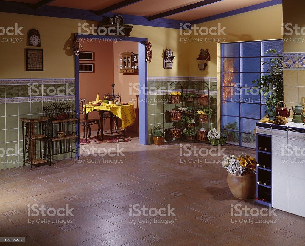 Huge Cottage Kitchen stock photo