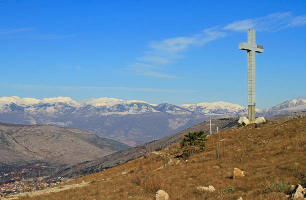 Huge cross on Hum Mountain in Mostar stock photo